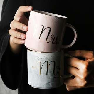 PO Mr & Mrs Marble Design Coffee Mug Set