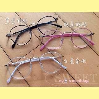 復活節特價❣️🐣 文藝風,復古金屬圓框眼鏡 韓國潮款 男女款 平光鏡