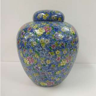Special Artistic Porcelain Ornamental Jar pearl shape with multi-flowers design on blue ground