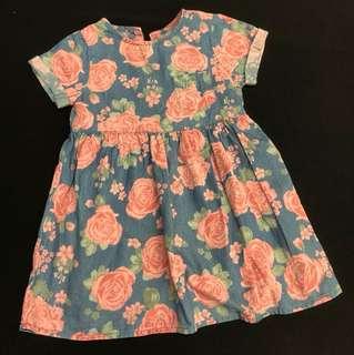 Blue floral dress 2-3Y