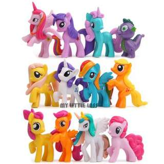 Big My Little Pony Action Figures 12 Horses Dolls Cake Toppers 6-7cm