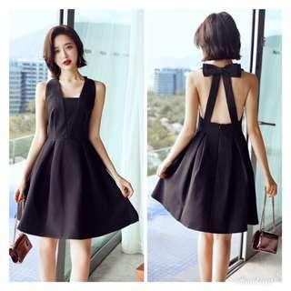 Black ribbon back elegant dress PRE order