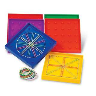 Learning Resources 5-Inch Double-Sided Assorted Geoboard, Set of 6
