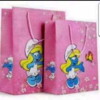 In Stock Smurf Smurfette Pink Carrier Paper Bag Size is 32 × 26 × 10cm