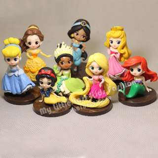 Premium Collection 8Pcs Princesses Bella Cinderella PVC Figure Cake Topper