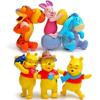 Cute Premium Winnie The Pooh 6pcs Collection PVC Figure Cake Topper