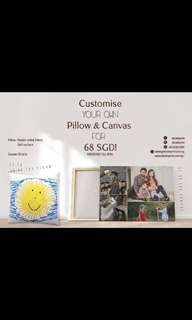 Customise canvas and pillow