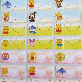 Cuties Winnie pooh name stickers