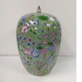 Special Artistic Porcelain Ornamental Jar pumpkin shape with design of multi-flowers on green ground