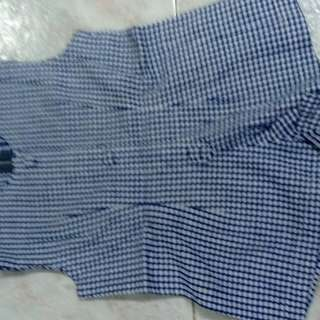 Homemade machine sewn blue checked toddler girl's romper