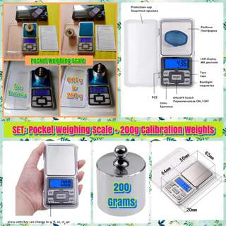 ⚖ SET: Pocket Weighing Scale (0.01g to 200g) & Calibration Weights (200 grams). With FREE Batteries.