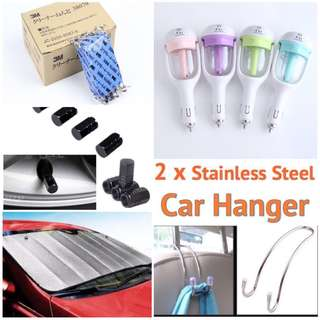 Full set sales portable car diffuser/3M clay bar/sunshade cover/4 pcs of tyre caps/2 metal car hook/ add on Essential oil @$8.00