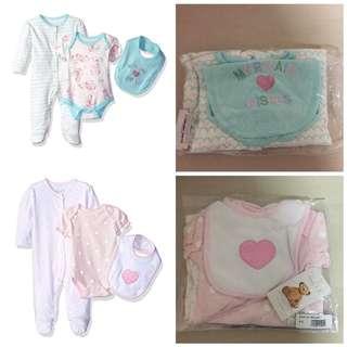 SALE 60% Off - 2 Sets $20 - 0-3 Mths BNWT Authentic Rene Rofe baby girls 3pc set (sleepsuit, bodysuit, bib)
