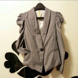 🚚 秋裝正韓公主袖灰色腰身西裝薄外套