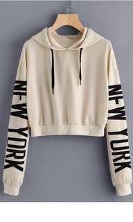 Beige/ nude cropped hoodie / jumper