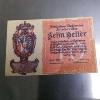 全新直版歐洲小國列支敦士登1920年10赫勒紙幣