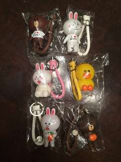 LINE keychains (brown, cony and sally)