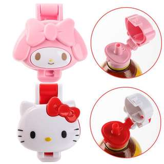 Little Bottle Cap w Straw - GHR980  Design: hello Kitty, my Melody   Best for Outing or traveling