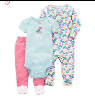 *9M* Brand New Carter's 3-Piece Kitty Sleep and Play Set For Baby Girl