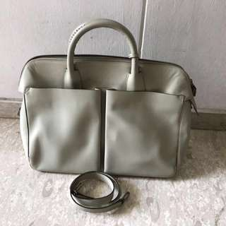Authentic Bally Light Grey Leather Bag
