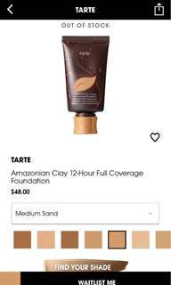 TARTE AMAZONIAN CLAY 12 hour FULL COVERAGE FOUNDATION