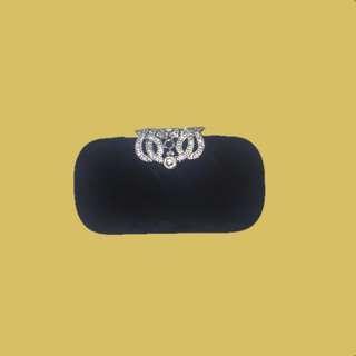 Fancy Black Velvet Clutch Purse