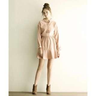 🚚 Lovfee 氣質韻味縮腰長袖傘擺洋裝  粉色 M號
