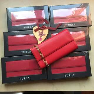 Furla Wallet On Chain Red