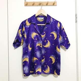 Vintage Button Down Purple Moon Sleepwear Shirt