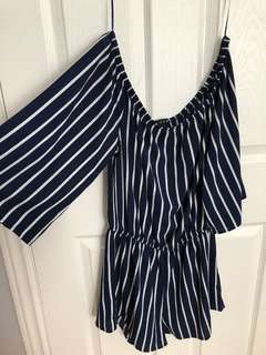 Striped off-shoulder jumpsuit - Size M