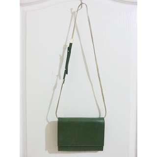 墨綠色百搭金鍊磁釦式斜背/側背小包
