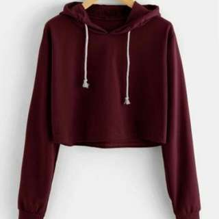 Sweater crop maroon