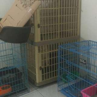 Kandang Kucing Tingkat Plastik Kokoh Roda Bermerek