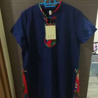 Traditional Chinese blue dress clothes