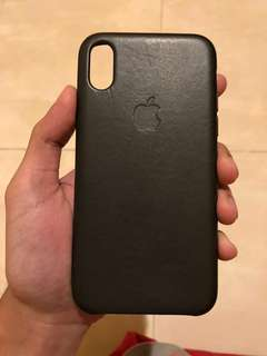 iPhone X Leather Case Charcoal Gray Original Apple