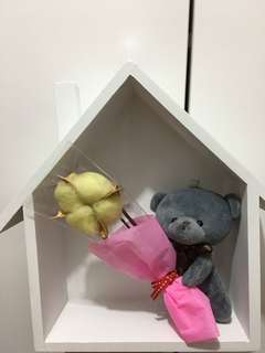 Cotton Bouquet with bear