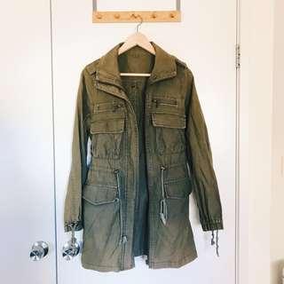 Vintage Khaki Green Denim Parka Lightweight Jacket