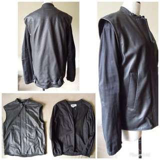 Martin Margiela Line 6 BLACK LAMB LEATHER 2 in 1 zipped jacket