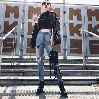 VM 歐美新款 藍色破洞 星星接拼設計 趣味休閒顯瘦 高腰鉛筆九分牛仔褲