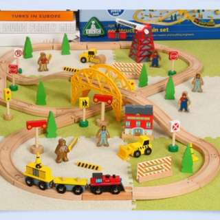 BN ELC Wooden Magnetic Construction Site Railway Train Toy Set