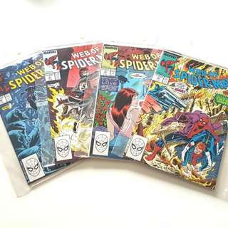 Marvel Comics 🕸Web Of Spiderman 41 - 44 Comics (Complete 4-part Series CULT OF LOVE)🕷