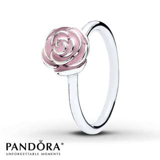"Pandora Retired ""Rose Garden with Pink Enamel"" Ring"