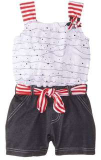 Baby Girls' Disco Dot Eyelash Knit Denim Romper, Red, 24 Months