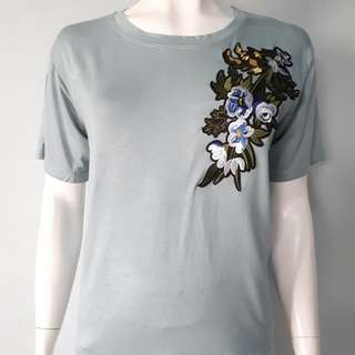 ➕Plus Size Floral Patch Tee