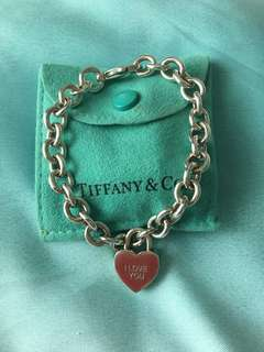 (Fast Deal @ $180) Tiffany & Co Bracelet I Love You Heart PadLock Charm and Link Bracelet