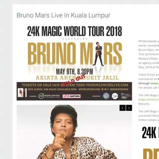 Bruno Mars Concert Ticket 9 May 2018