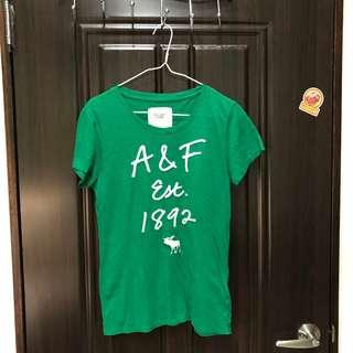 (二手)A&F 翠綠色 LOGO 短 TEE