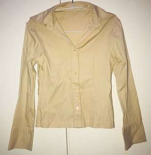 Beige Buttondown Polo with Longsleeves
