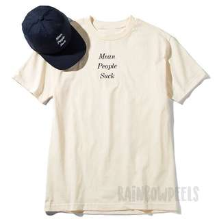 Instock | Mean People Suck Top Tshirt Tumblr Tee Basic Beige Cream Crew Neck