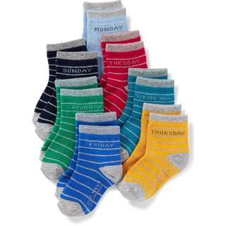 [Brand New] Day-of-the-Week 7-Pack Socks for Toddler (4-5 Years Old)
